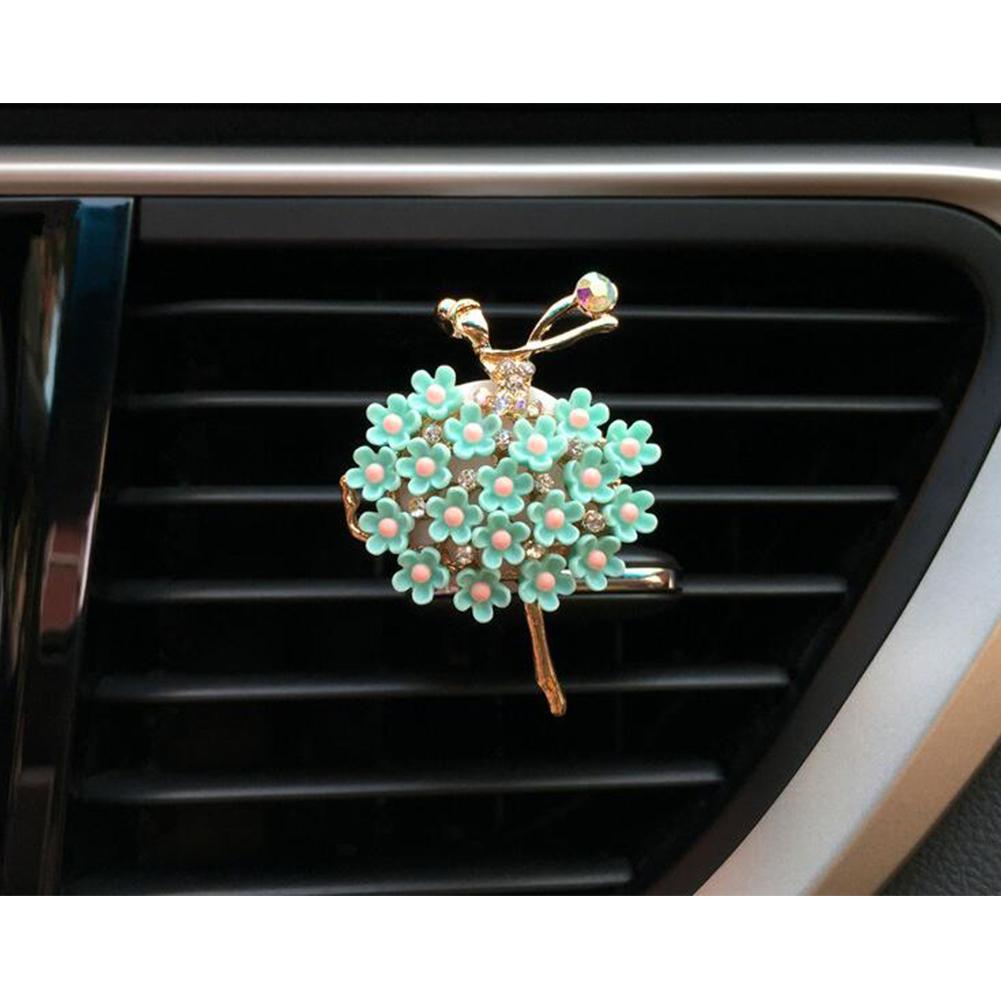 Car Air Vent Decoration Car Interior Decoration Rhinestone Ballet Girl Car Air Freshener Clip with Fragrance Cotton Pads  green