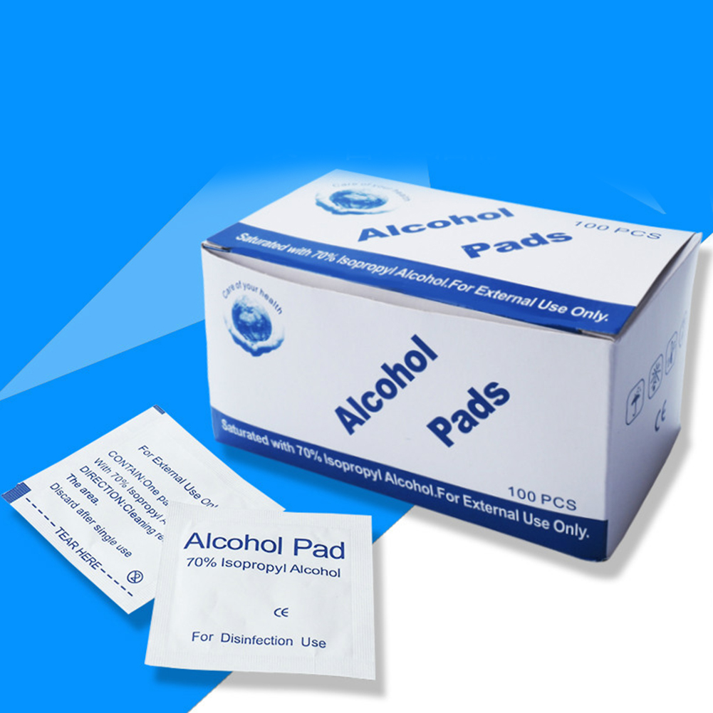 100 Pcs/Box Alcohol Tablets Disposable Medical Disinfection Wound Alcohol Wipes Travel Accessories