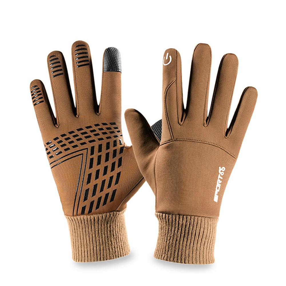 Touch Screen Running Gloves Lightweight Non-slip Warm Villus Gloves Men Women Waterproof Motorcycle Gloves brown_One size
