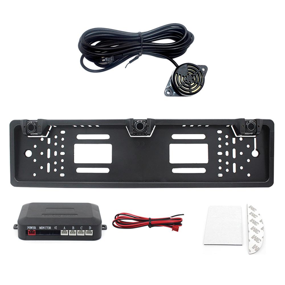 Eu Europe Car License Plate Frame Car Parking Sensor Kit black