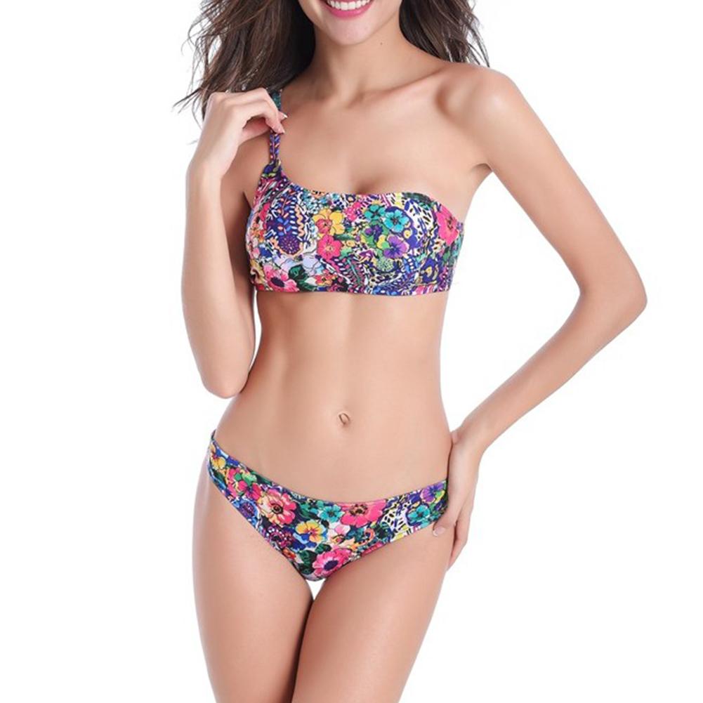 2 Pcs/set Women Swimming Suit Sexy Oblique Shoulder Floral Pattern Bikini Swimsuit Red floral_m