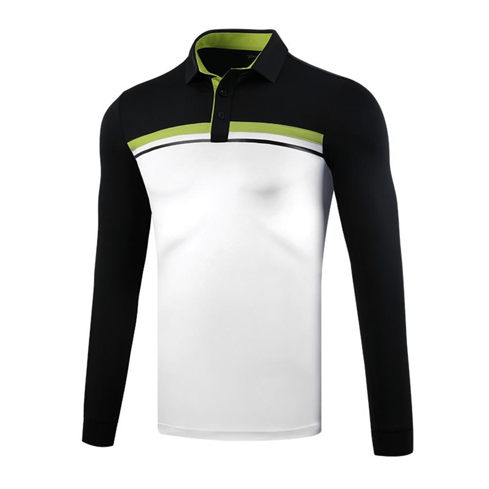 Golf Clothes Autumn Winter Men Clothes Long Sleeve T-shirt Sport Ball Uniform Black and White_XL