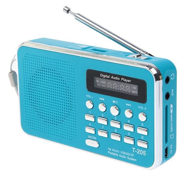 T-205 Fm Radio Portable Hifi Card Speaker Digital Multimedia Mp3 Music Loudspeaker Outdoor Sports Speaker blue