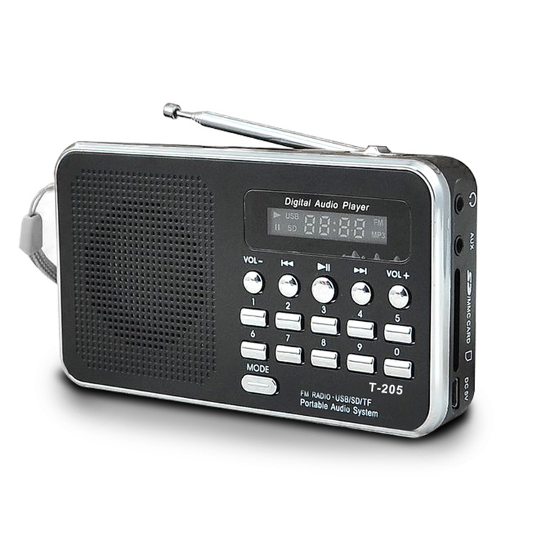 T-205 Fm Radio Portable Hifi Card Speaker Digital Multimedia Mp3 Music Loudspeaker Outdoor Sports Speaker black