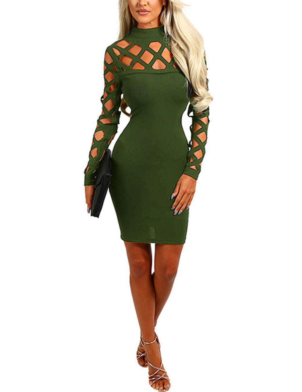 Lady Sexy Bodycon Dress High Neck Round Collar Hollowed-out Mid-thigh Length Pencil Dress Valentines Gift