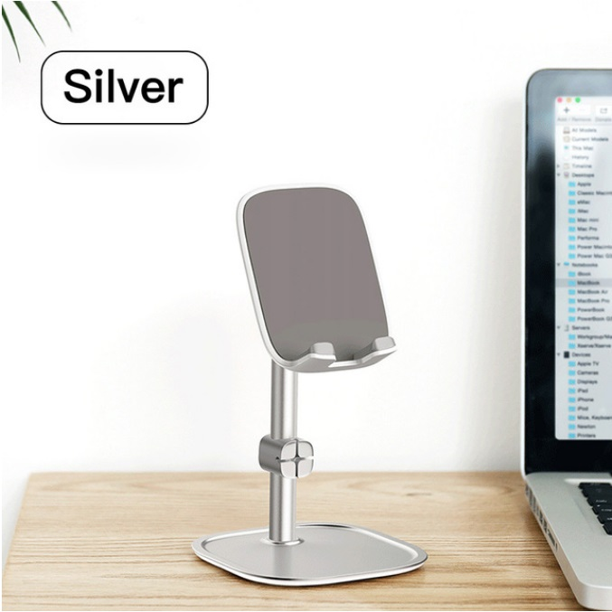 Mobile Phone Stand Holder for iPhone iPad Air Smartphone Metal Desk Desktop Phone Mount Holder for Xiaomi Huawei Tablet Silver
