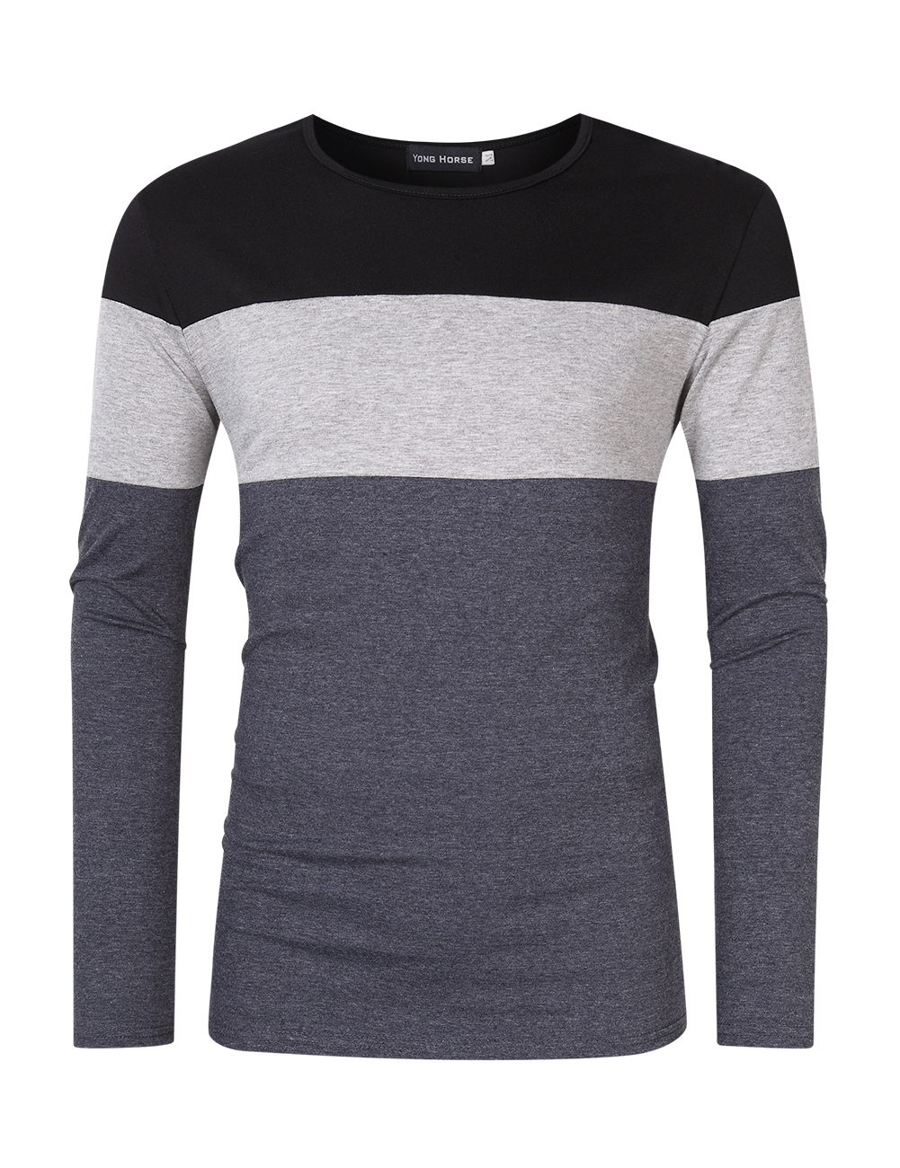 [US Direct] Yong Horse Men's Color Block Slim Fit Crew Neck Long Sleeve Basic Cotton T-Shirt Black + light gray_M