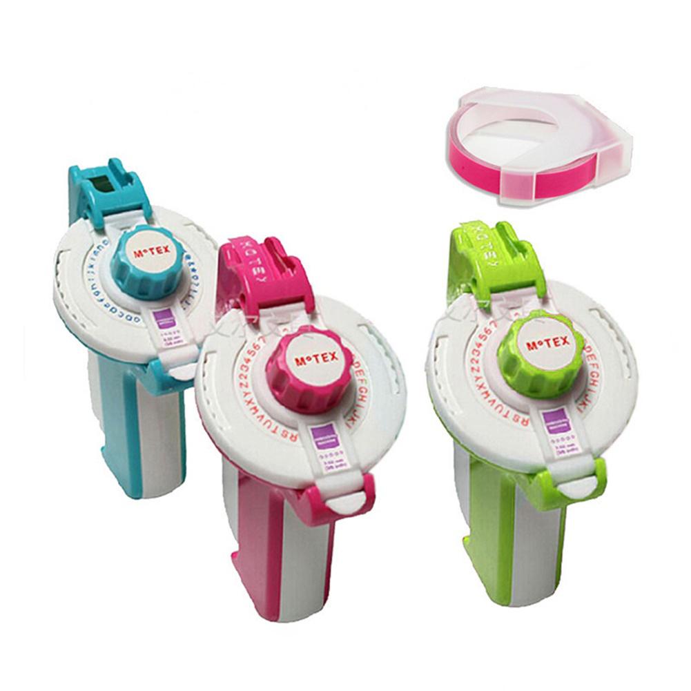 Label Making Machine Korean for Motex E-202 Manual Printer Self-adhesive 3D Cutting Plotter Pink 2 dial+9mm light pink