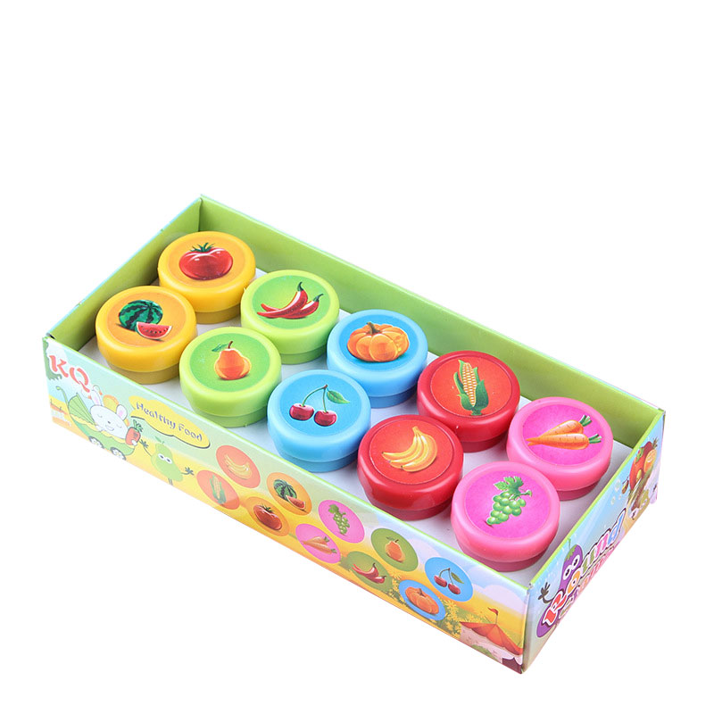 10 Pcs/ Pack Rubber Stamps Set Cute Self Inking Vegetables and Fruit Stamp Toys for Scrapbooking Decor Children Gift