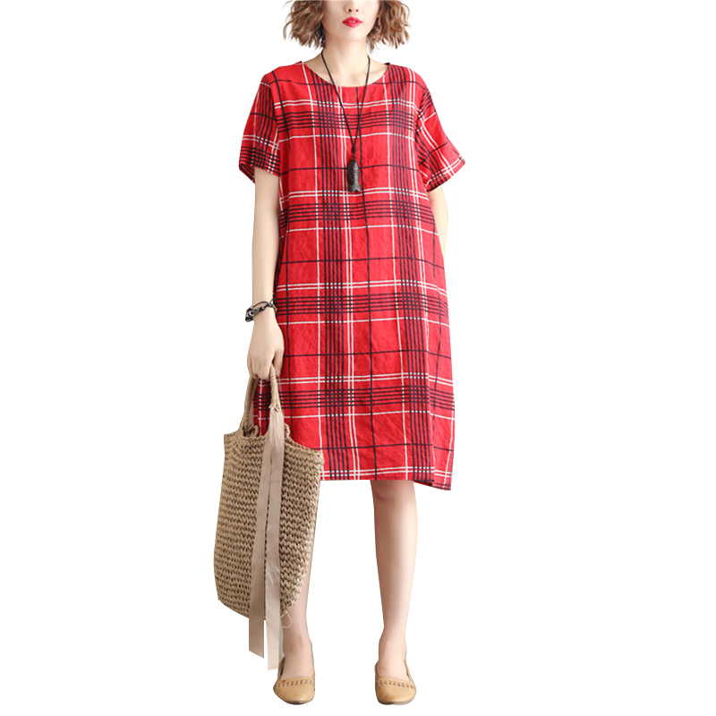 Women Dress Plaid Short Sleeve Crew Neck Loose Waist Summer Midi Dress with Pocket Red_XXXL