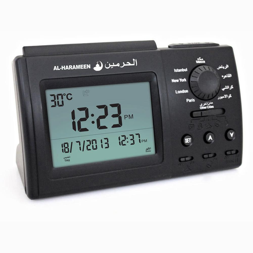 Muslim Alarm Clock LED Display Rectangle Arab Desktop Azan Clock black