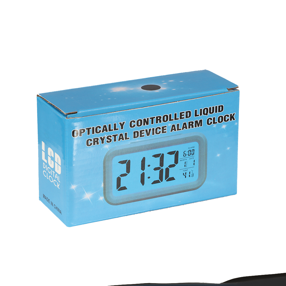 Mute Digital Electronic Alarm Clock with Temperature Snooze Function(Excluding Batteries) Black white light