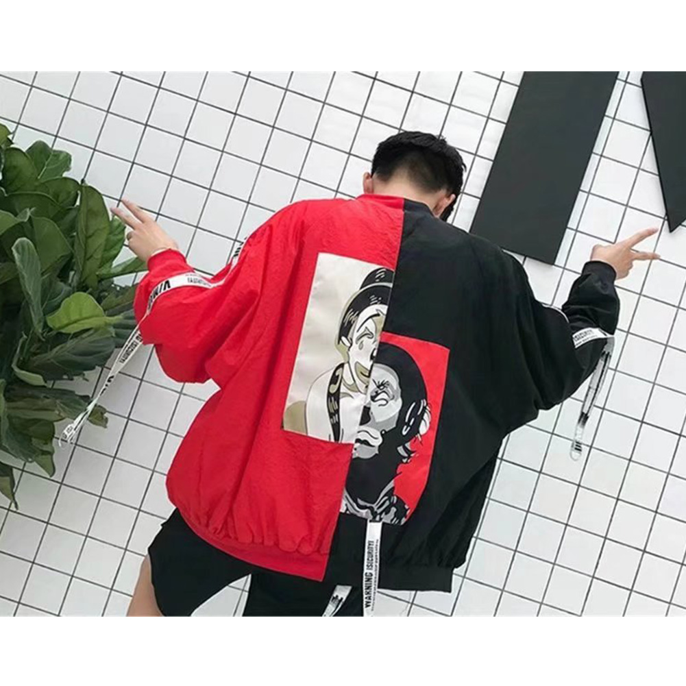 Contrast Color Cardigan Top Floral Printed Base Ball Jacket of Long Sleeves and Stand Collar Red fight black_M