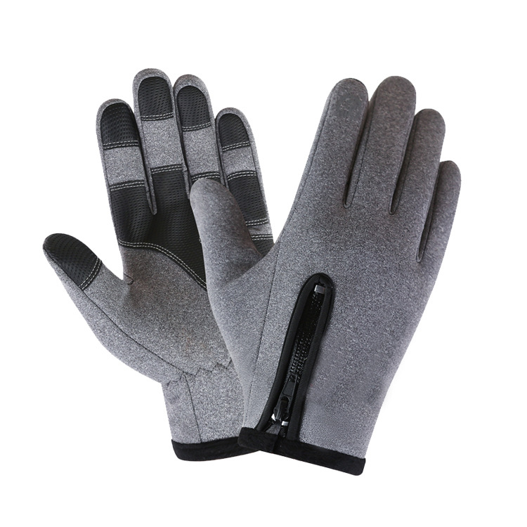 Cold-proof Ski Gloves Waterproof Windproof Anti Slip Winter Gloves Cycling Fluff Warm Gloves For Touchscreen gray_M