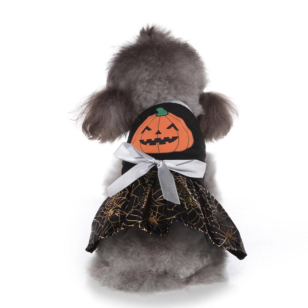 Halloween Dog Wizard Dress Pumpkin Pattern Christmas Cosplay Costume Pumpkin Spider Web_M
