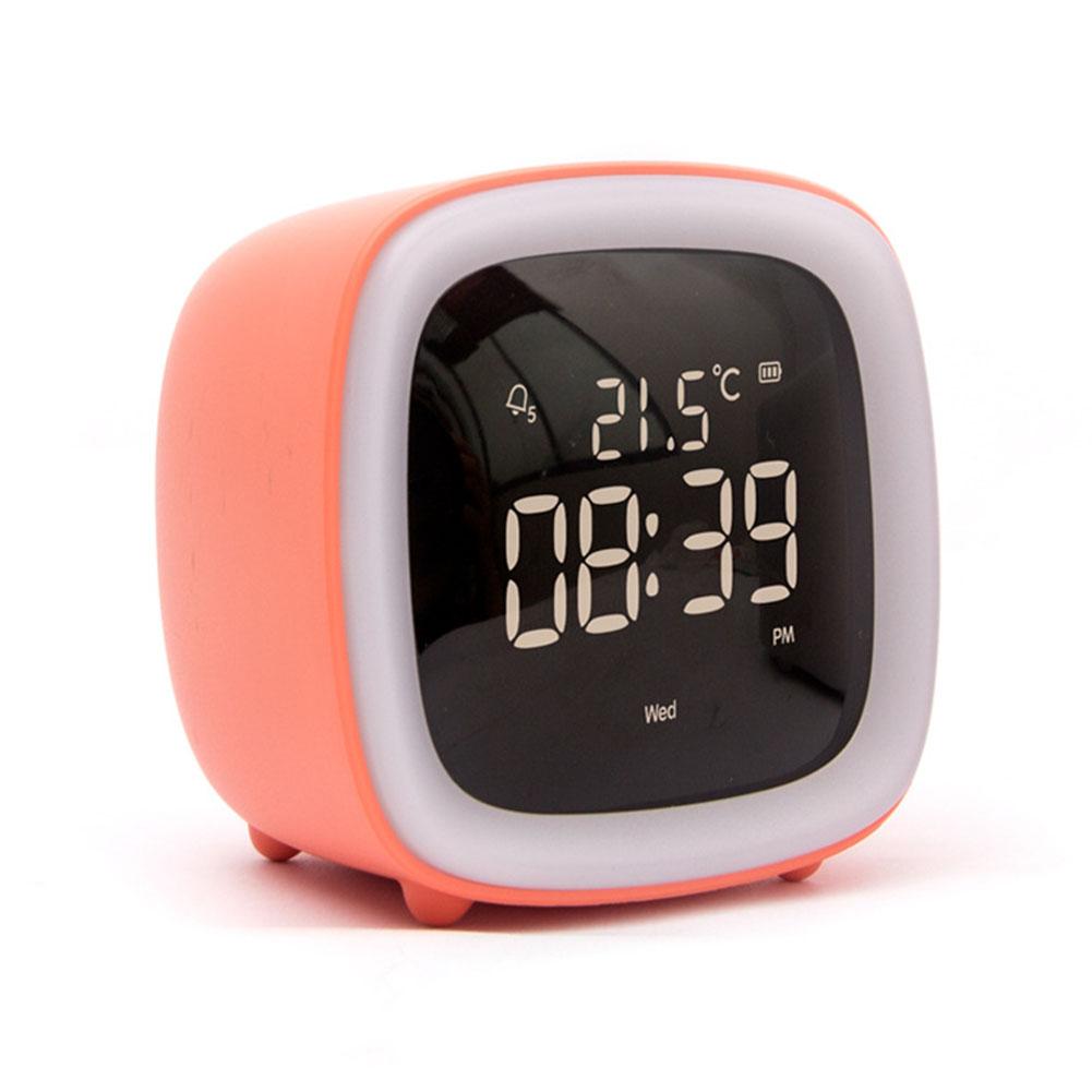 Multifunction Cute Cartoon Alarm Clock Temperature Display USB Night Light Orange alarm clock (regular)