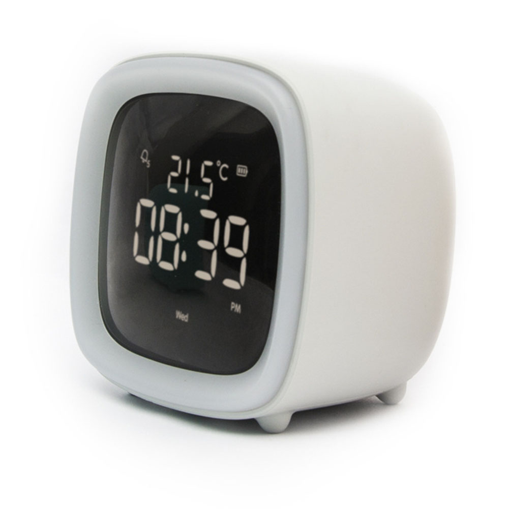 Multifunction Cute Cartoon Alarm Clock Temperature Display USB Night Light Grey alarm clock (regular)