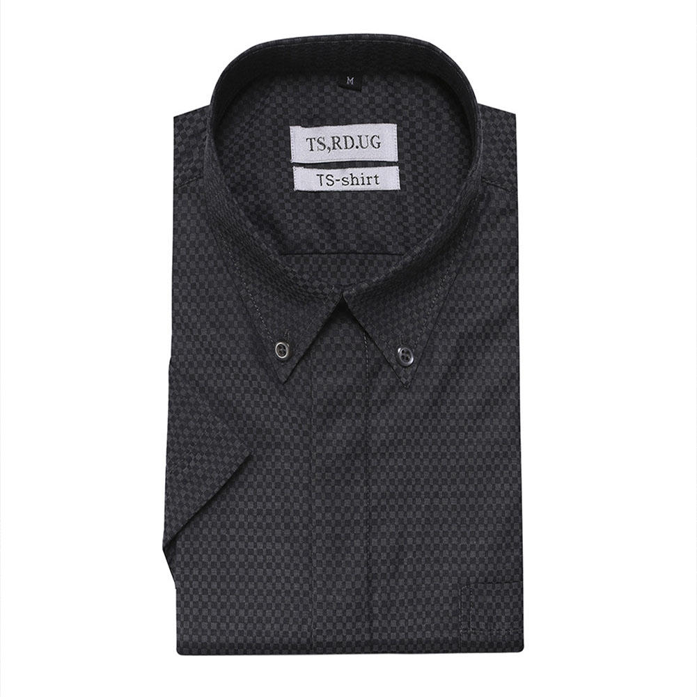 Men Short Sleeve Formal Shirt Casual Autumn Lapel Business Shirt for Adults Black_M
