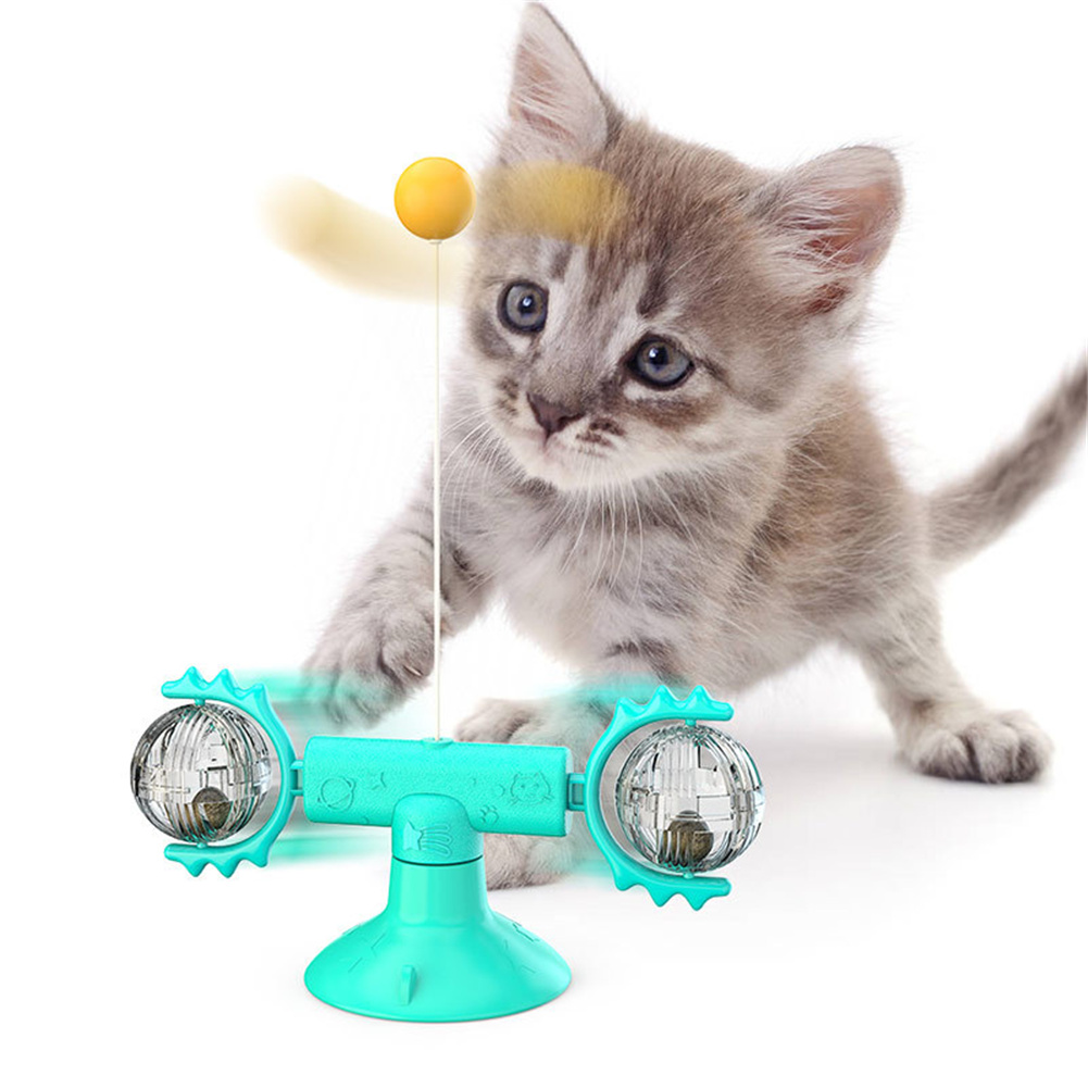 Cat  Carousel Pinwheel Pet Toy With Suctions Pet Funny Relieving Supplies Blue