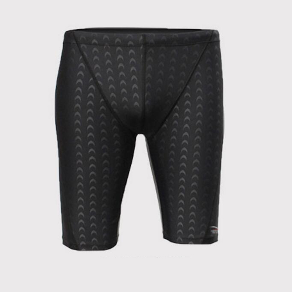 Male Professional Breathable Swim Boxer Half Pants Swimming Trunks Comfortable Hot Spring Swim Wear Diving Suit Gift black line_2XL