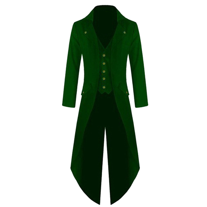 Men Coat Fashionable Punk Retro Tailcoat Jacket Gothic Frock Coat Tops green_XXL