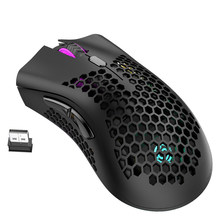 2.4GHz Wireless Mouse USB Rechargeable 1600DPI Adjustable Hollow Out Honeycomb RGB Optical Mouse Gamer Mice black