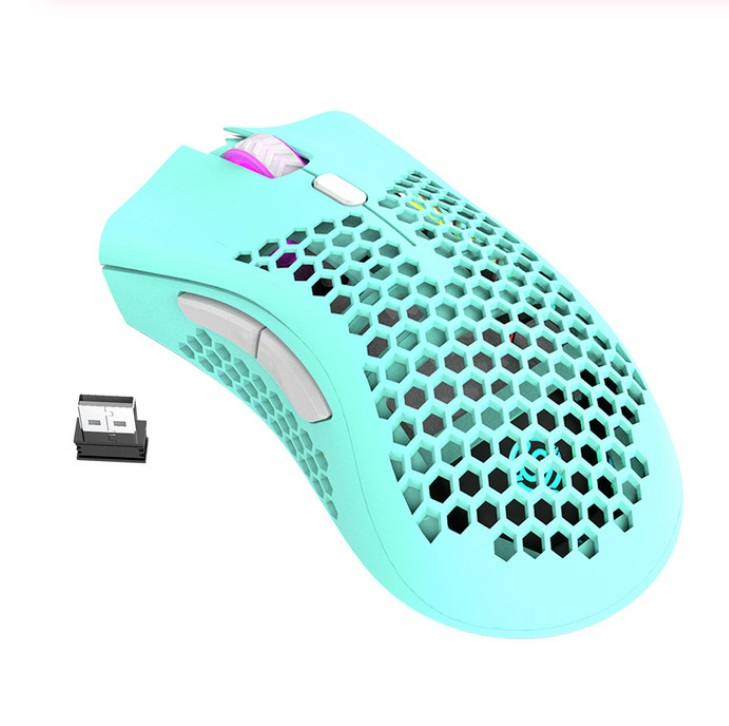 2.4GHz Wireless Mouse USB Rechargeable 1600DPI Adjustable Hollow Out Honeycomb RGB Optical Mouse Gamer Mice blue