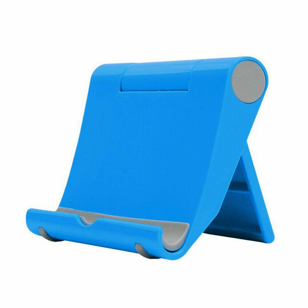 Folding Phone Tablet Holder Desktop Multifunctional Adjustable Mobile Phone Stand blue