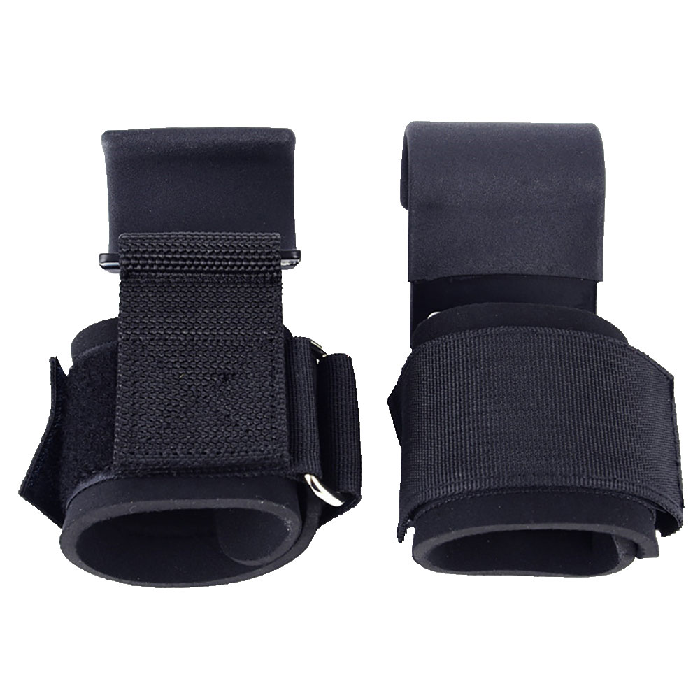 Fitness Weight Lifting Hook Training Gym Grips Straps Wrist Support Weights Power Dumbbell Hook Weightlifting black_One pair