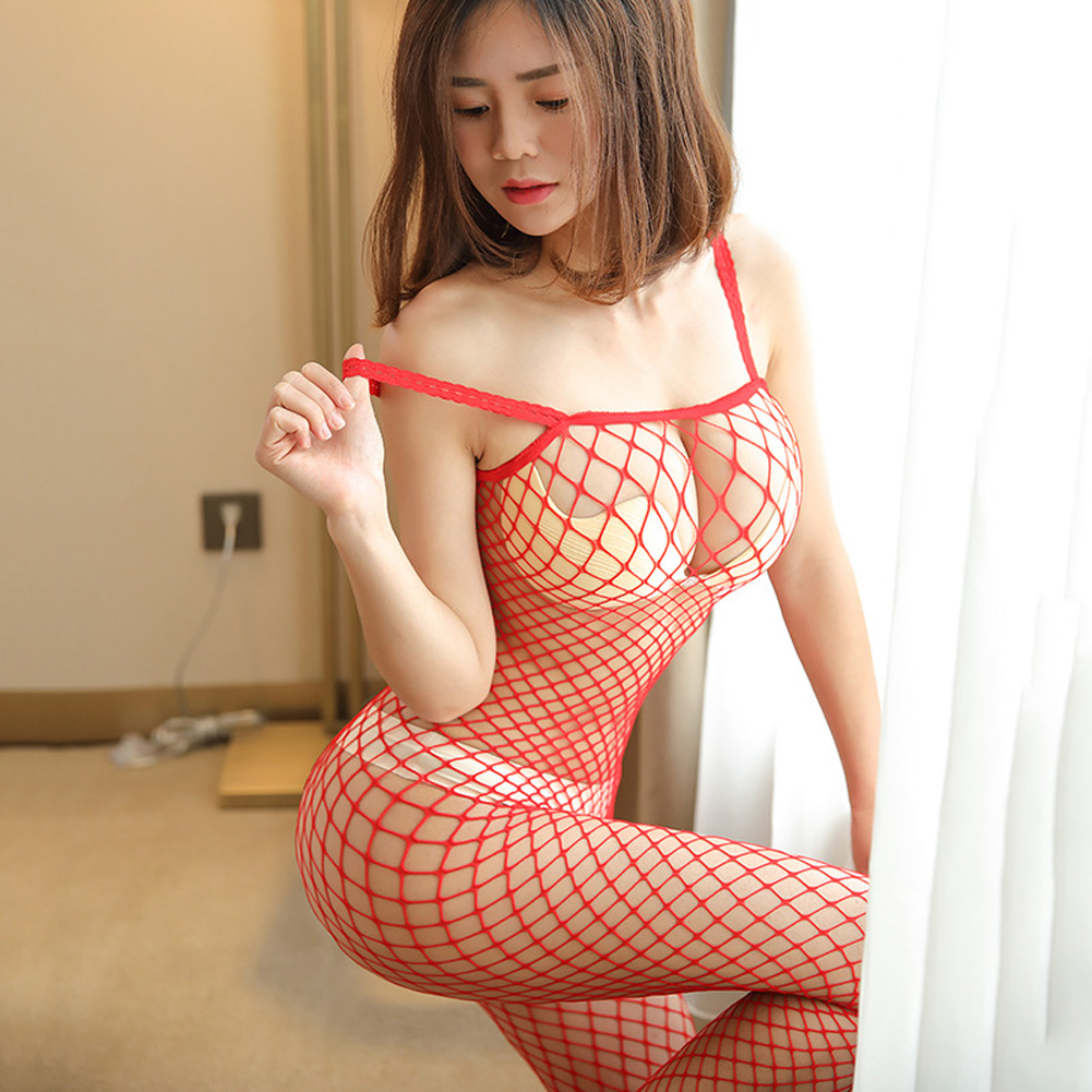 Women Lingerie Plus Size Sexy Erotic Hollow Mesh Sexy Lingerie Fishnet Sex Costumes Underwear rose Red_average size