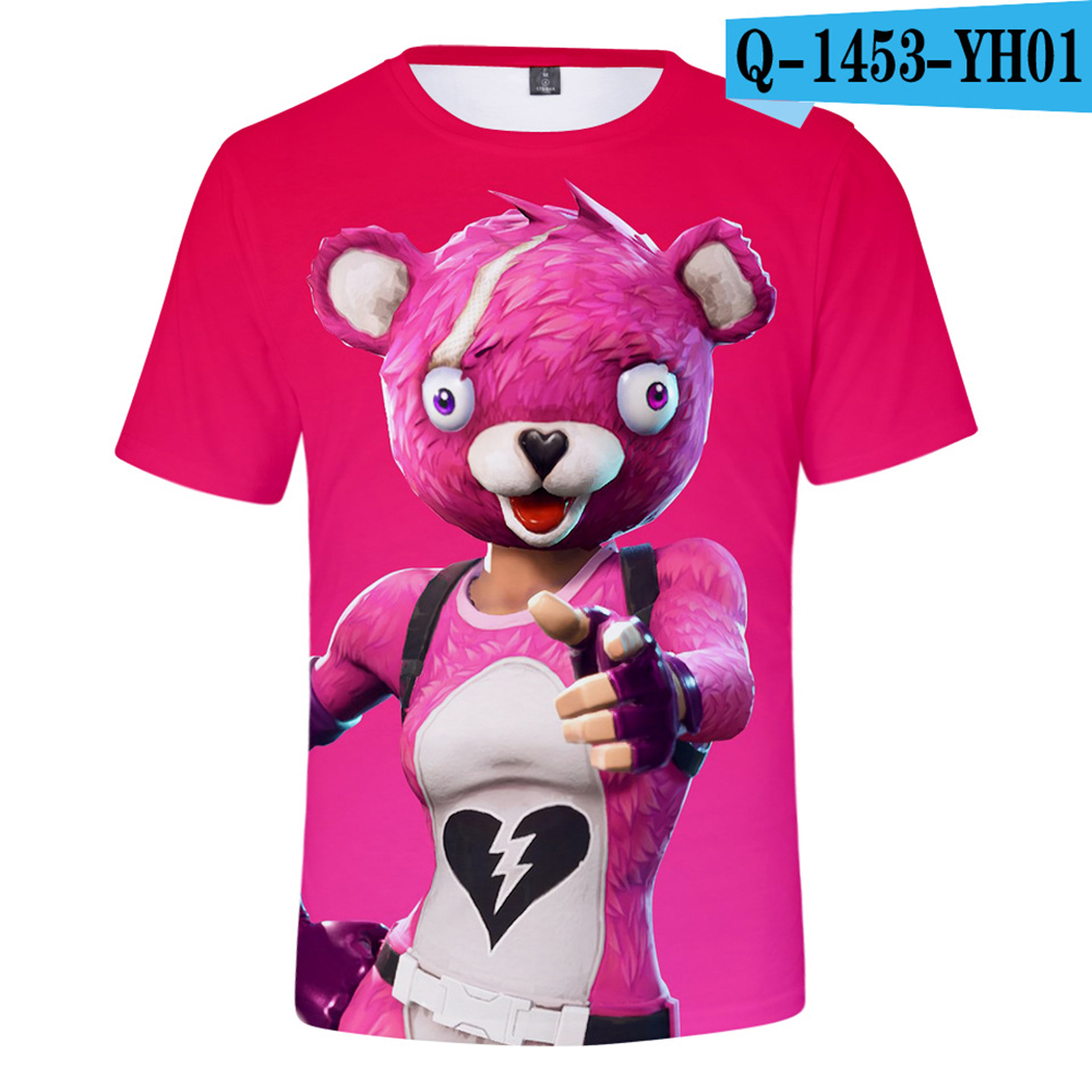 Casual 3D Cartoon Pattern Round Neck T-shirt Picture color AH_L