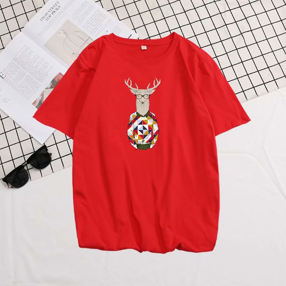 Men Summer Fashion Short-sleeved T-shirt Round Neckline Loose Printed Cotton Bottoming Top 632 red_L