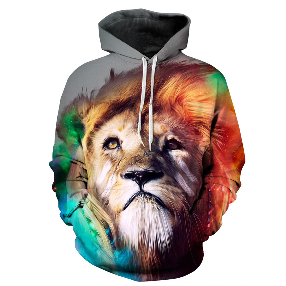 Cartoon 3D Lion Printing Hoodie Casual Long Sleeve Hooded Pullover Sweatshirt Tops Christmas Gift lion_XXL