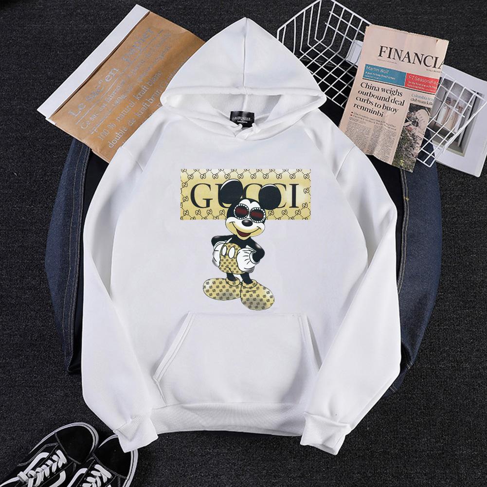 Men Cartoon Hoodie Sweatshirt Micky Mouse Autumn Winter Loose Student Couple Wear Pullover White_M