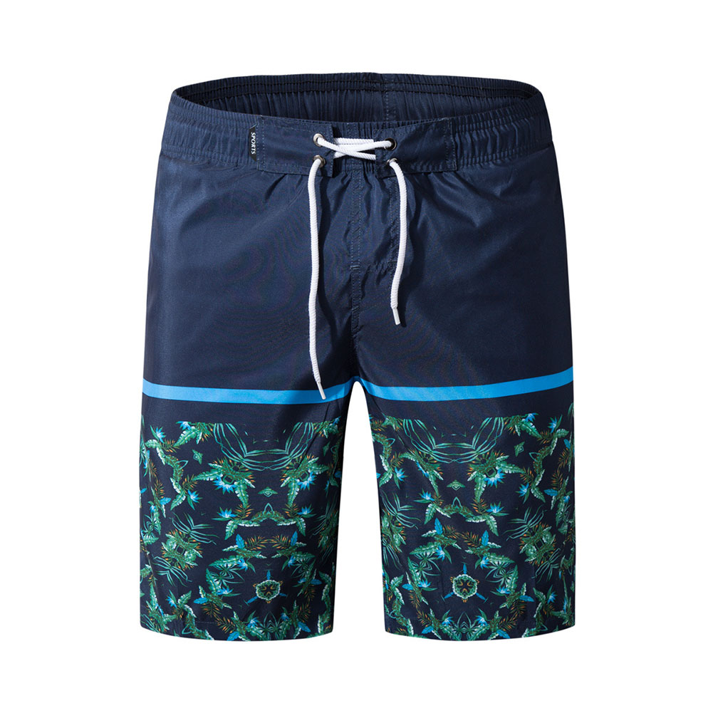 Men Fashion Casual Beach Surf Shorts Quick-drying Shorts Navy blue_M