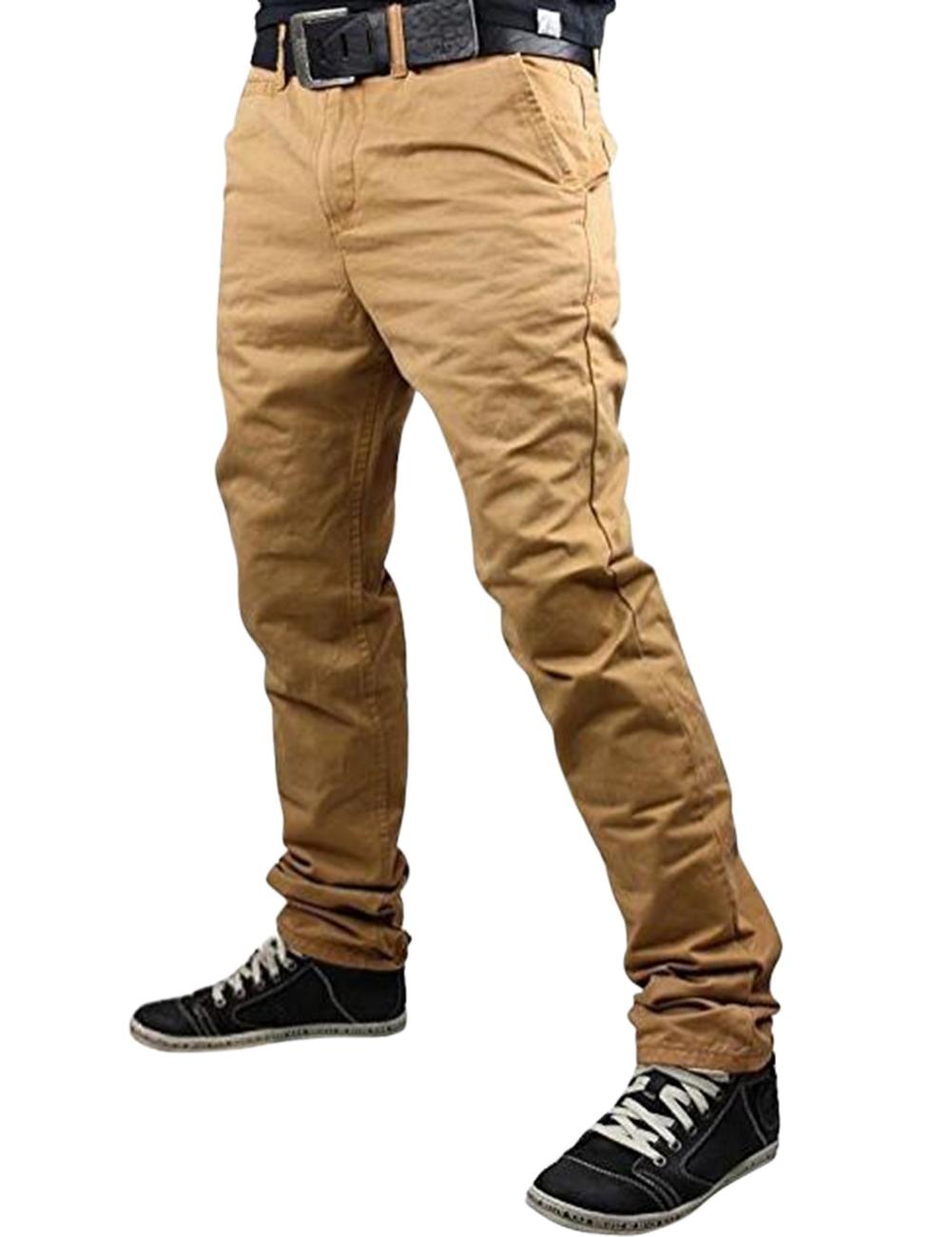 Fashionable Men Solid Color Trousers Business Straight-leg Pants Casual Cotton Pants Khaki_L