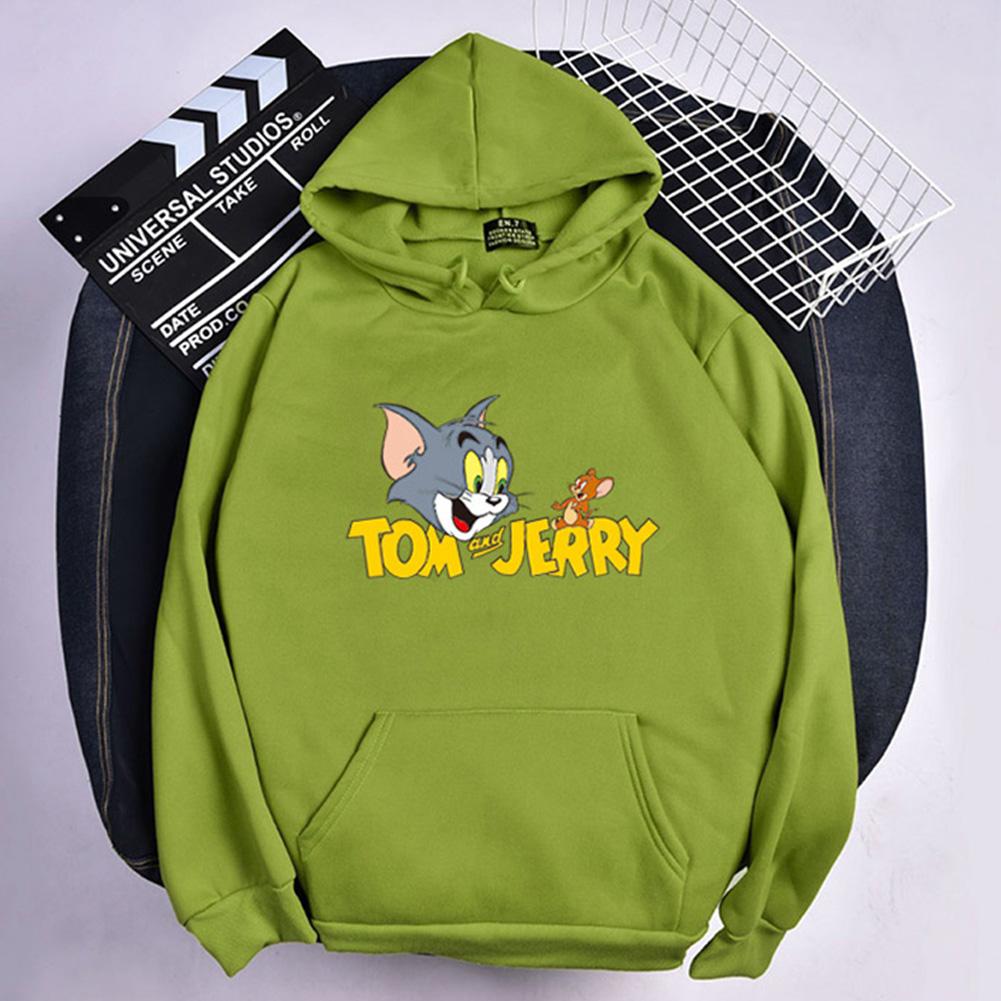 Men Women Hoodie Sweatshirt Tom and Jerry Cartoon Thicken Loose Autumn Winter Pullover Tops Green_M