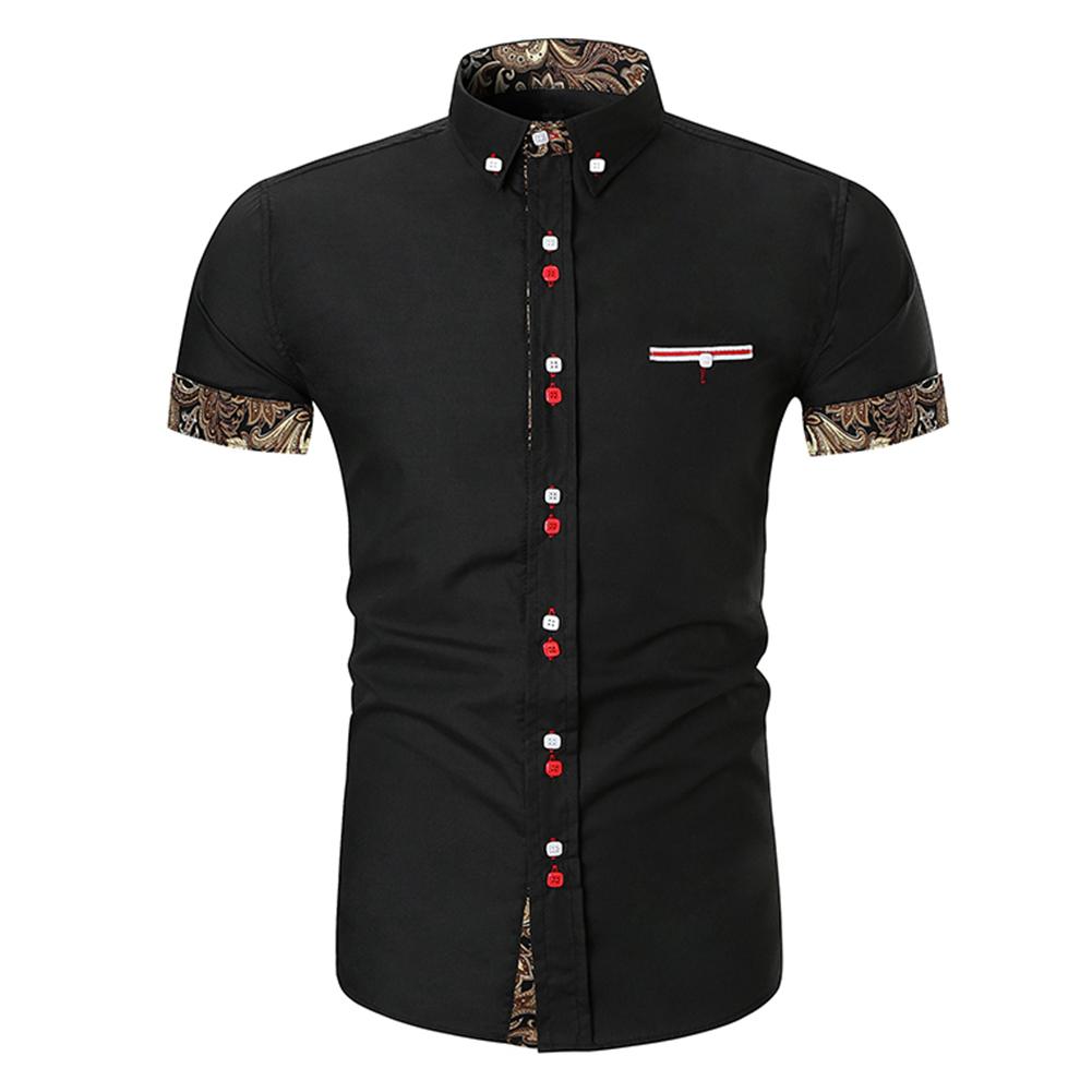 Men Fashion Button Design Lapel Shirt with Pocket Matching Color Cotton Shirt black_XL