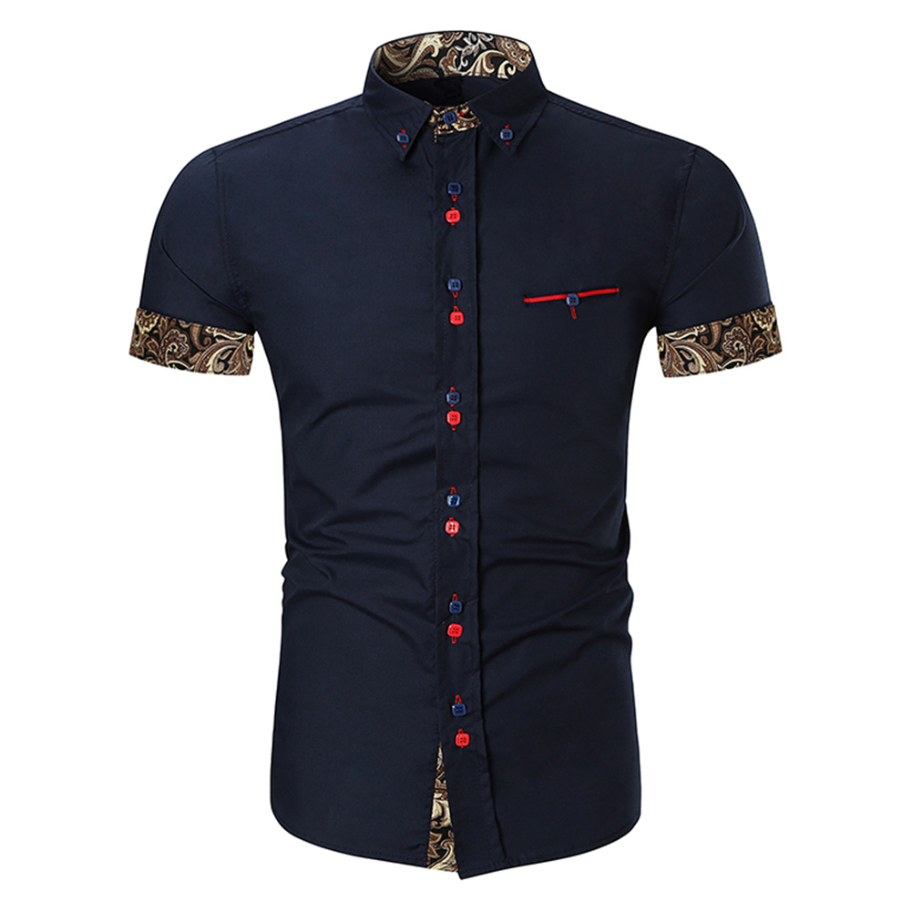 Men Fashion Button Design Lapel Shirt with Pocket Matching Color Cotton Shirt Navy_L