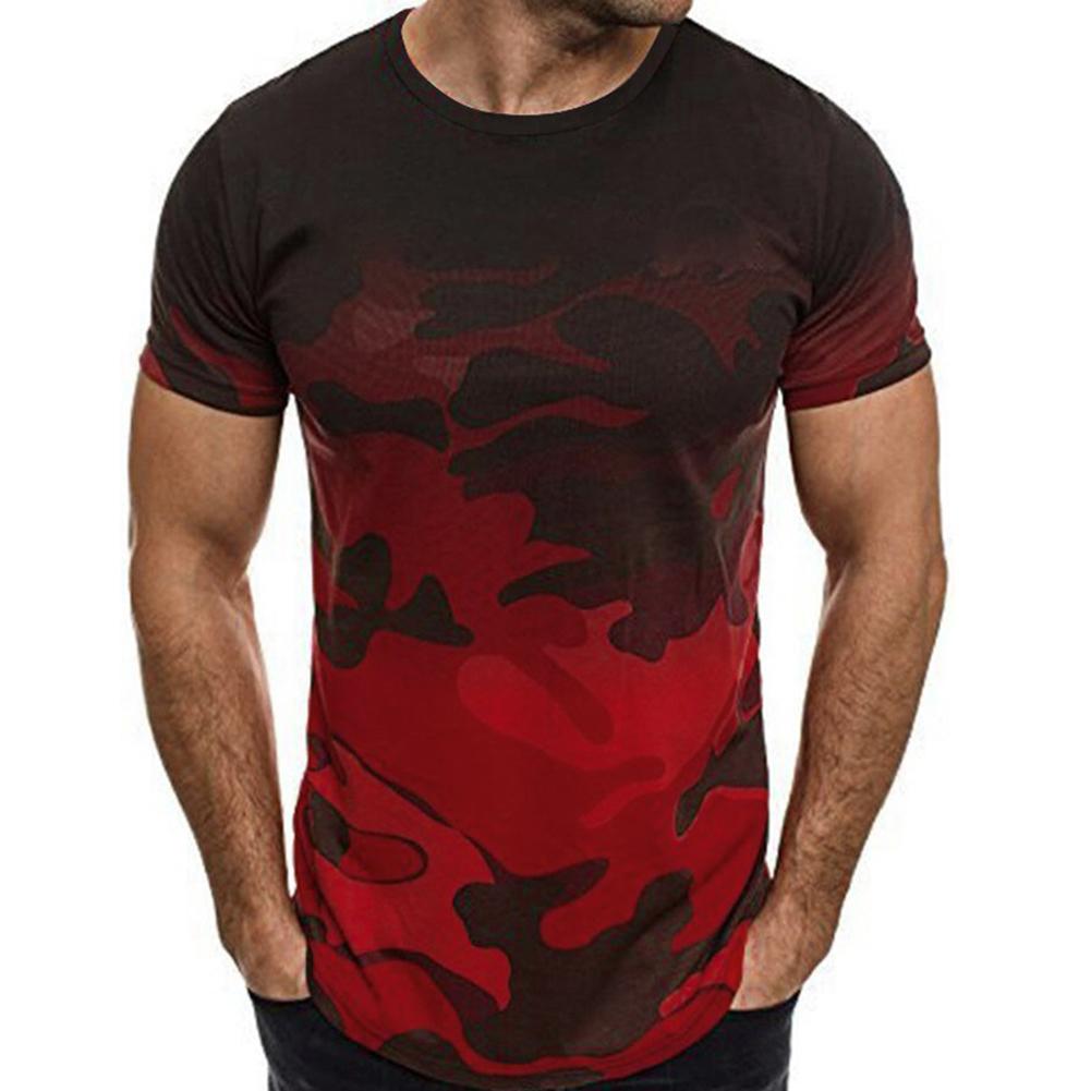 Men Fashion Printing T-shirts Round Collar Short Sleeve All-matching Slim Tops Black red_XL