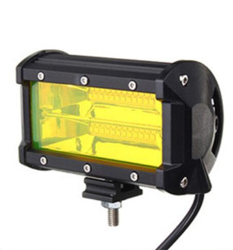 72W 6500K  24 LED   Work Light Bar  6000LM 12V  5in  Super Bright Spotlight Lamp  for Offroad Truck Car Boat yellow