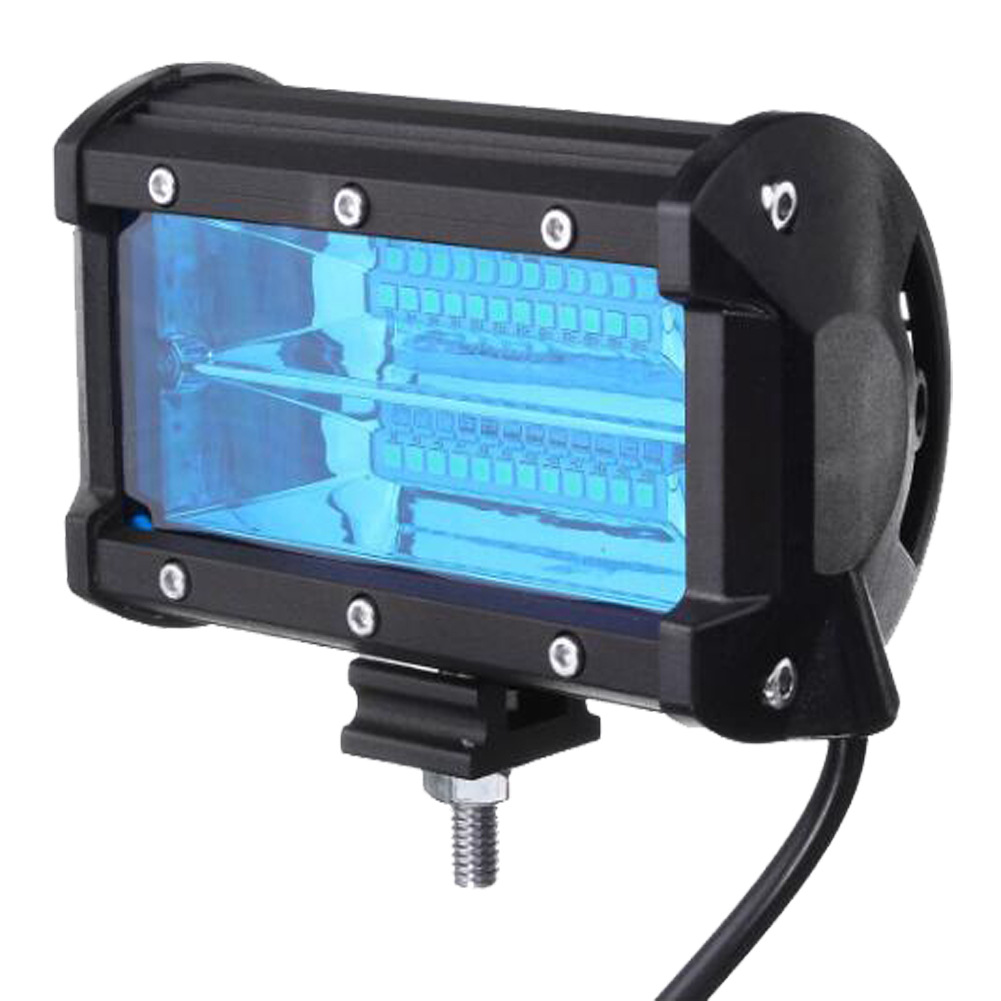 72W 6500K  24 LED   Work Light Bar  6000LM 12V  5in  Super Bright Spotlight Lamp  for Offroad Truck Car Boat Blue