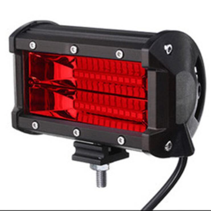 72W 6500K  24 LED   Work Light Bar  6000LM 12V  5in  Super Bright Spotlight Lamp  for Offroad Truck Car Boat red
