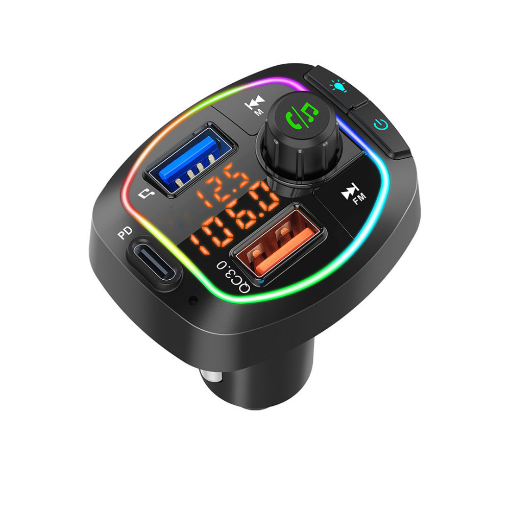 Car Mp3 Bluetooth  Player Fast Charging Colorful Light Type-c Port black
