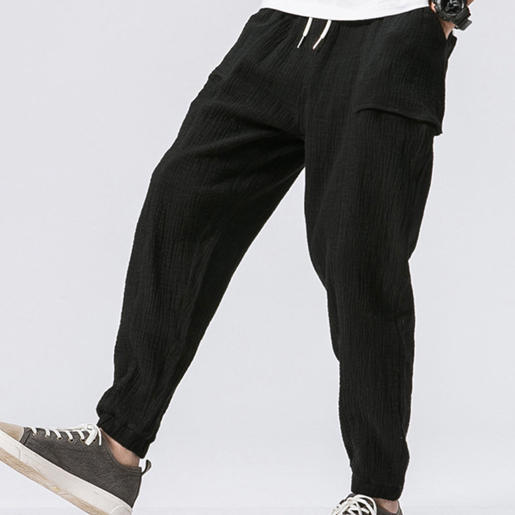 Men Leisure Pants Double Wrinkle Pants Large Size Slim Casual Trousers black_L