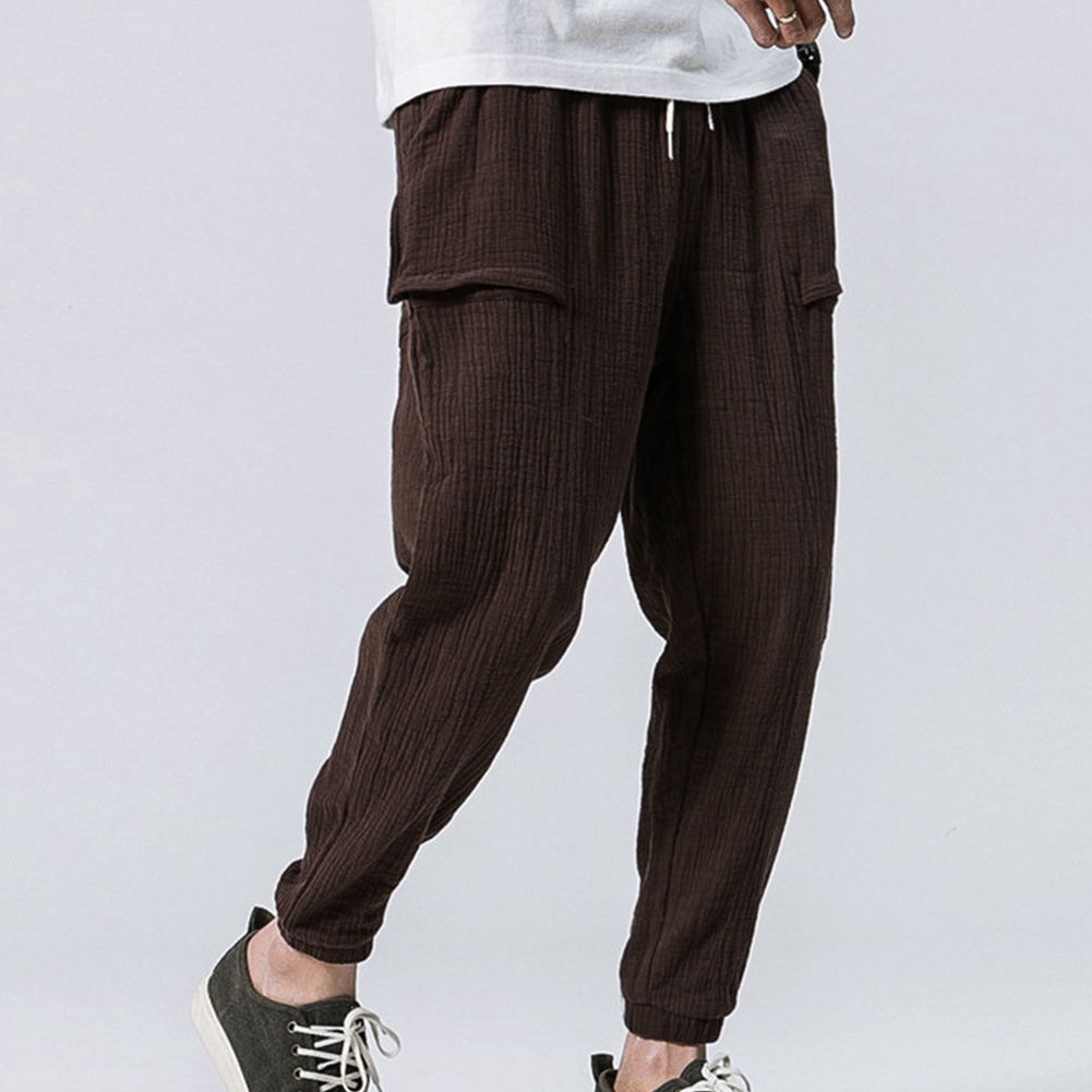 Men Leisure Pants Double Wrinkle Pants Large Size Slim Casual Trousers brown_XL