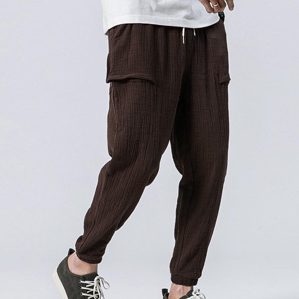 Men Leisure Pants Double Wrinkle Pants Large Size Slim Casual Trousers brown_L