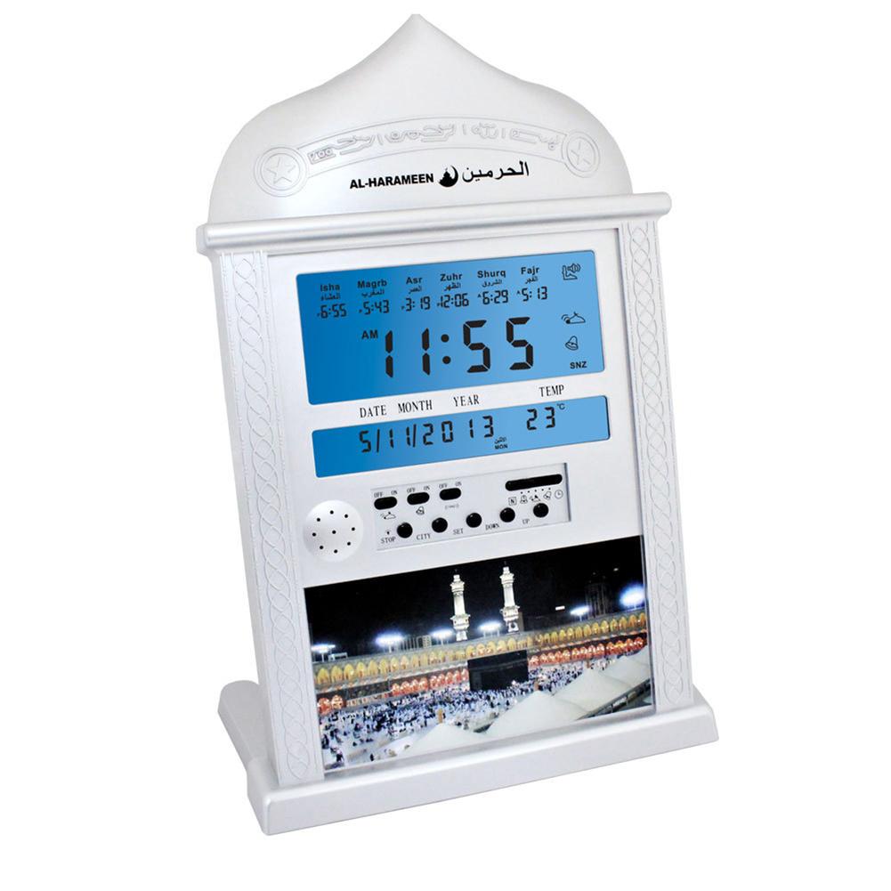 Azan Calendar Muslim Prayer Wall Clock Alarm with LCD Display Home Decor(No Battery) white
