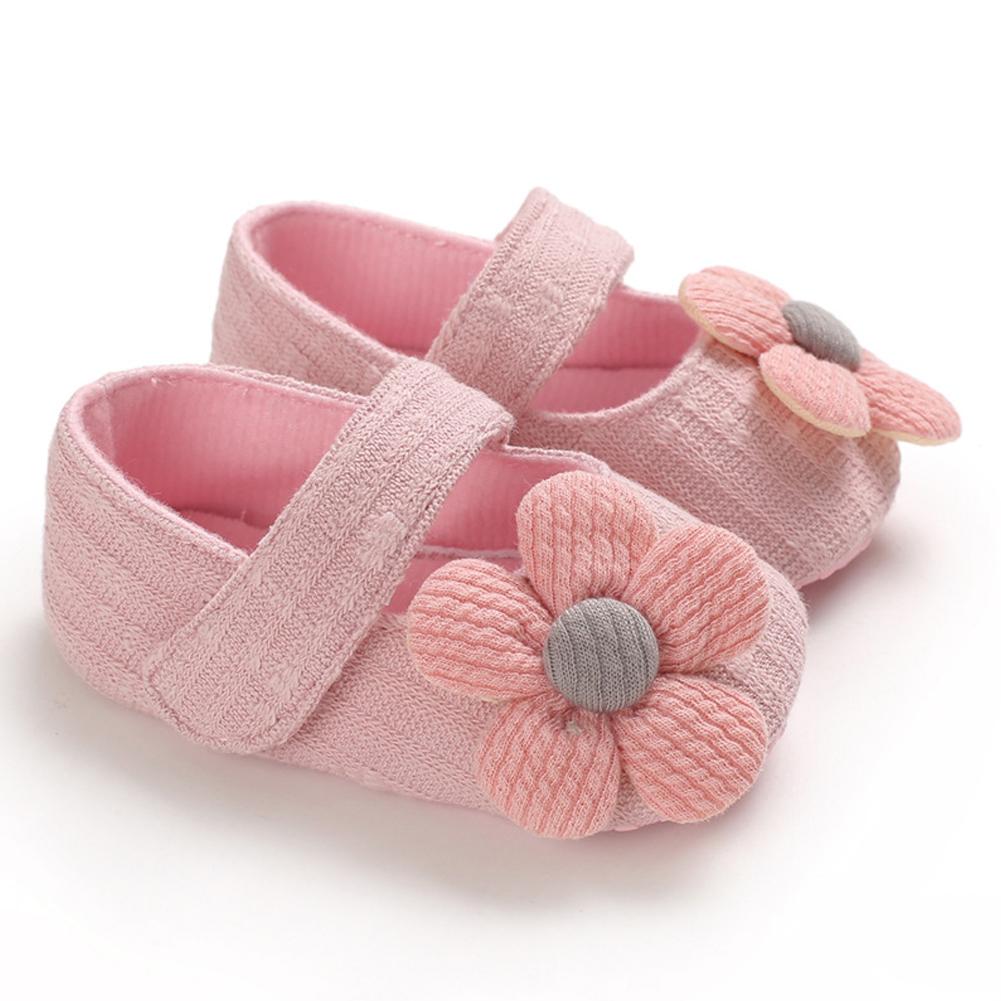 Cute Flower Soft Sole Non-Slip Prewalker Princess Shoes for Kids Baby Toddler Girls Pink_Inside length 11 cm