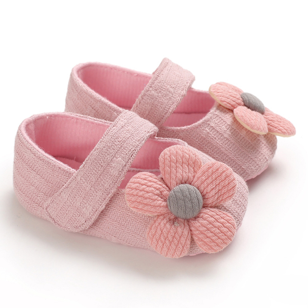 Cute Flower Soft Sole Non-Slip Prewalker Princess Shoes for Kids Baby Toddler Girls Pink_12 cm inside length